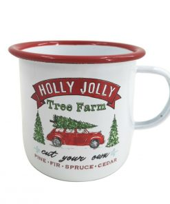 Unique Painted White Xmas Mug Drink Cup Water Mulled Wine Christmas Tree