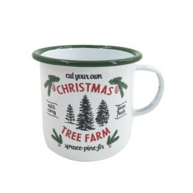 Retro White Xmas Mug Cup Water Mulled Wine Christmas Tree Gift Coffee Tea