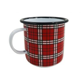 Festive Red Tartan Christmas Enamel Mug Boat Camping Mulled Wine Hot Drink