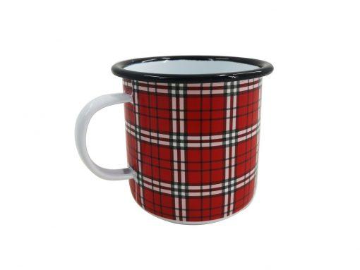 Festive Red Tartan Christmas Enamel Mug Boat Camping Mulled Wine Hot Drink