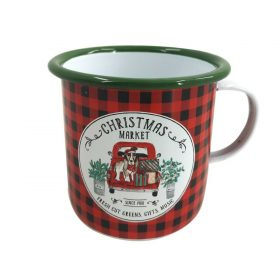 Red & Green Christmas Market Mulled Wine Enamel Mug Hot Drink Outdoor Xmas