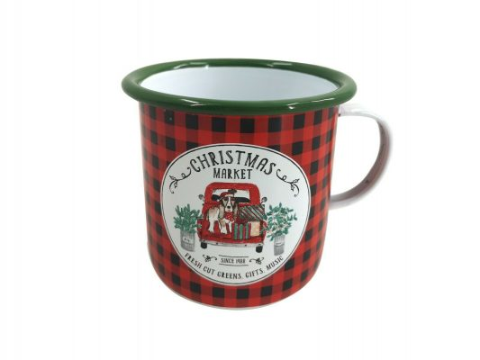 Red & Green Christmas Market Mulled Wine Enamel Mug Hot Drink Outdoor Xmas