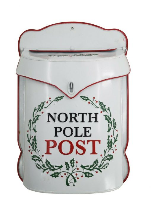 Handmade Red & White North Pole Post Box Mail Letter Santa Wall Mount Holly