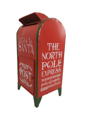 Red & Green Standing Post Mail Box Letters To Santa Kids School Christmas UK