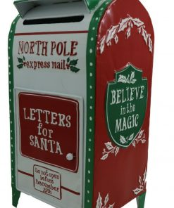 North Pole Express Post Christmas Post Box Mail Letter Santa Xmas White 42cm