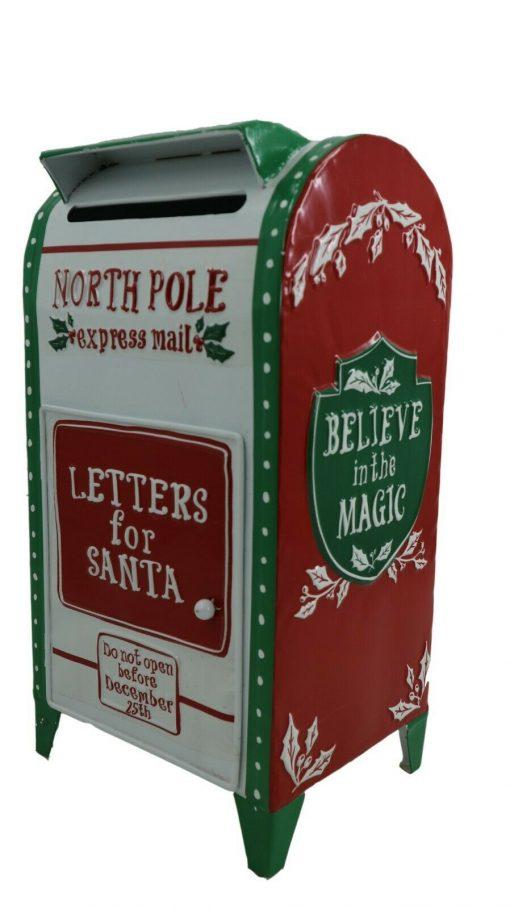 North Pole Express Post Christmas Post Box Mail Letter Santa Xmas White 42cm