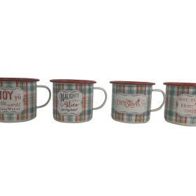 Set Of 4 Christmas Mugs Festive Quotes Chequered Enamel Outdoor Wine Drink