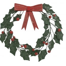 Handmade Christmas Green Metal Hanging Holly Wreath Red Bow Outdoor Wall