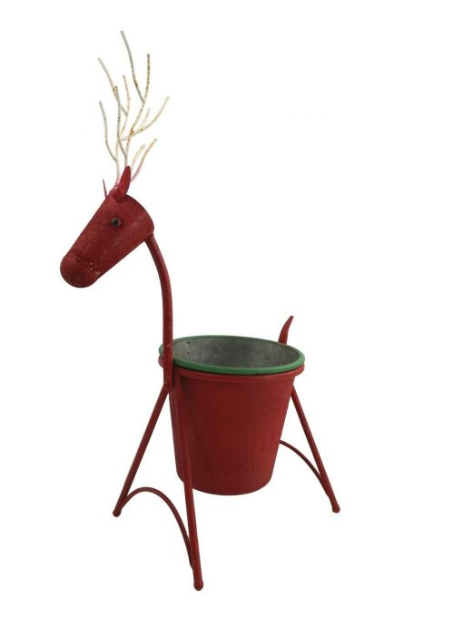 Festive Red Reindeer Christmas Garden Planter Metal Gift Home Decoration Xmas