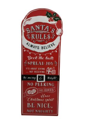 Large Santas Rules Hanging Wall Sign Picture Plaque Christmas Home Decor Kids
