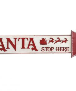 Premium Xmas Santa Stop Here Wooden Wall Sign Christmas Home Decoration
