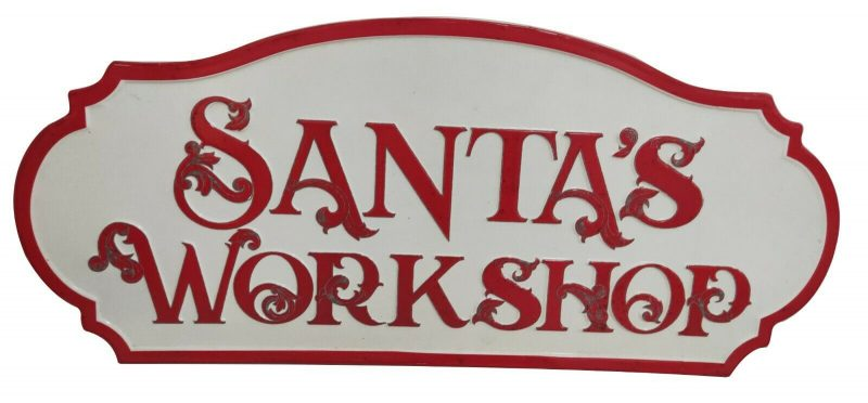 Aged Santa's Workshop Wall Sign Xmas Grotto Outdoor Christmas Decoration