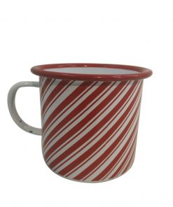 Christmas Red & White Candy Cane Enamel Mug Xmas Kitchen Durable Hot Drink
