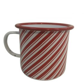Christmas Red & White Candy Cane Enamel Mug Xmas Kitchen Durable Hot Drink