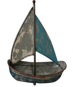 Chic Blue Nautical Metal Boat Sculpture Beach Yacht Sea Home Decor Ornament