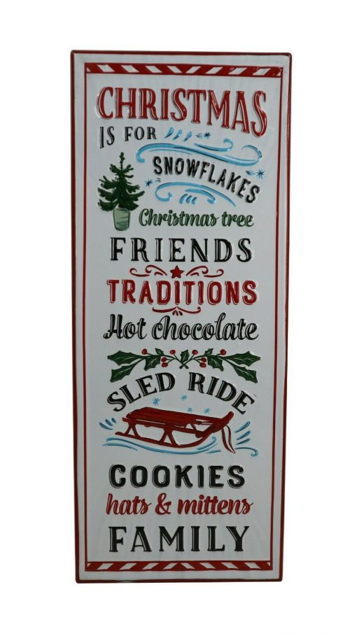 White Xmas Hanging Wall Sign Christmas Family Rules Home Decoration Tree Sled