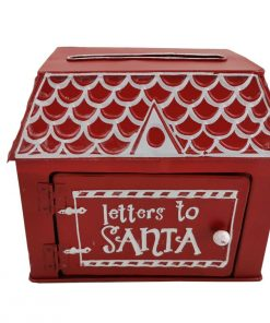 Small Christmas Gingerbread House Letters To Santa Red Post Mail Box Xmas List