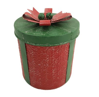 Large Red & Green Festive Metal Present Storage Container Decoration Christmas