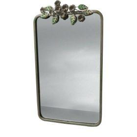 Small Green Metal Leaf Garden Mirror Wall Mounted Decoration Handmade Chic