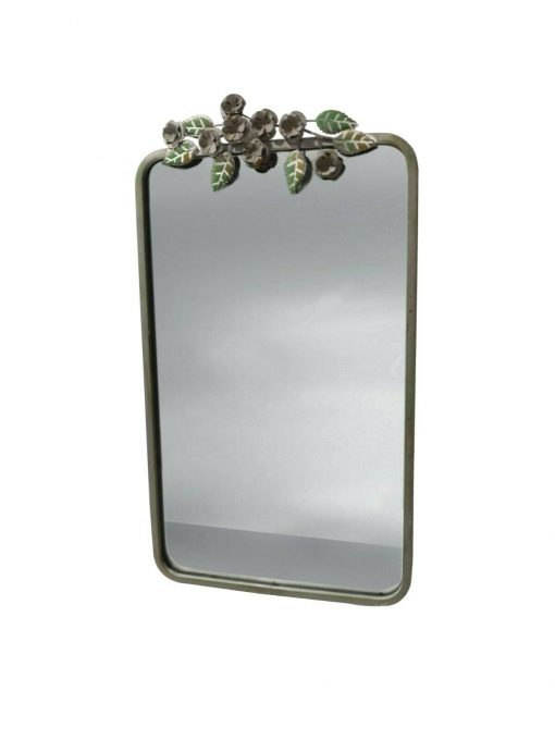Small Green Metal Leaf Garden Mirror Wall Mounted Decoration Handmade Chic