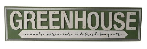 Green Wooden Wall Mounted Green House Garden Sign Decoration Plaque Home