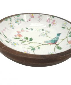 Small Painted White Wood Bowl Bird Flower Serving Fruit Food Keys Plate Dish